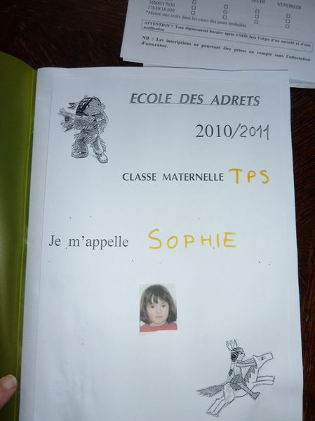 sophie cahier ecole