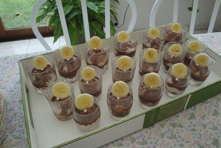 Verrines banane chocolat au lait façon cheese cake
