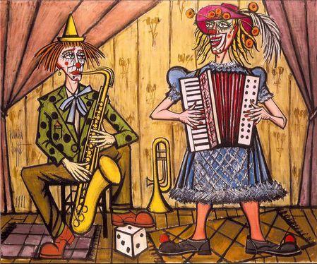 Bernard Buffet Les clowns musiciens