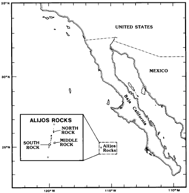 Rocas Alijos-map - from THE MARINE BIRDS OF ALIJOS ROCKS,