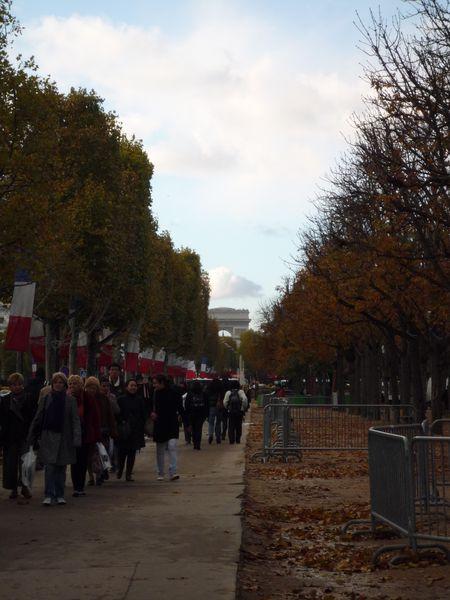Automne sur les Champs-Elysées - perspective sur l'Arc de
