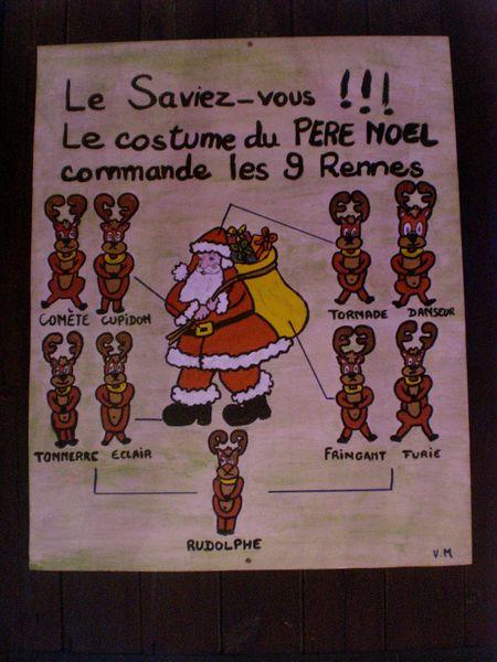 le saviez vous. le costume du pèere noel commande les 9 rennes
