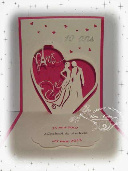 Carte pop-up mariage Tina Crea