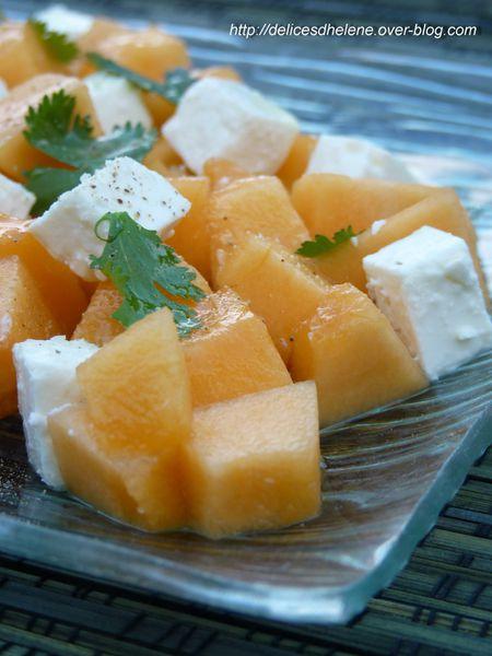 salade de melon à la feta et coriandre