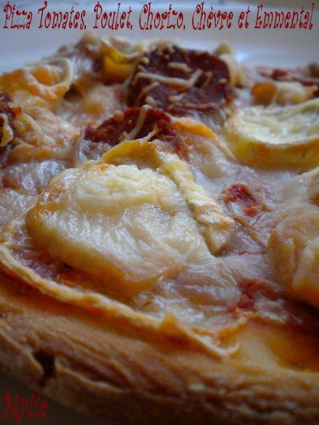 pizza poulet, chorizo, chèvre 2