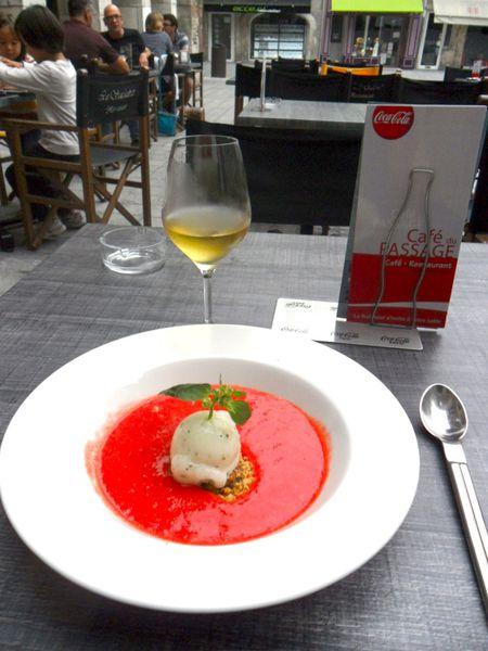 soupe de fraises, sorbet basilic