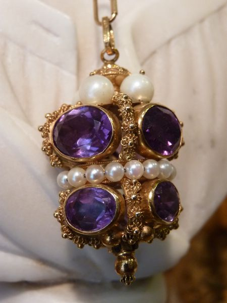amethystes pendentif or antiquaire