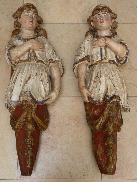 antiquaire sculpture anges 18ème siècle bois doré polych