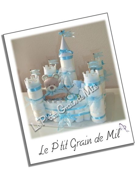chateau fort bebe baby diaper cake castle gateau de couches