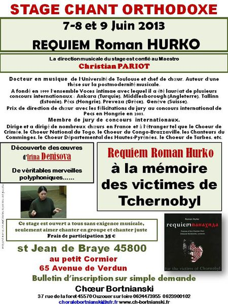 stage chant orthodoxe pariot 7 8 9 juin 2013