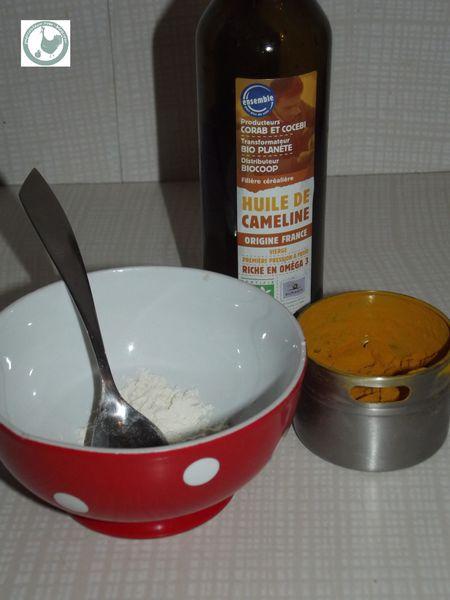 ingrédients du masque farine huile de caméline curcuma la