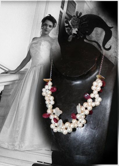 Mariage Perle Rubis Argent