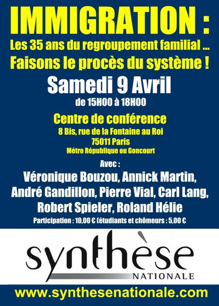 colloque 9 avril syntèse nationale