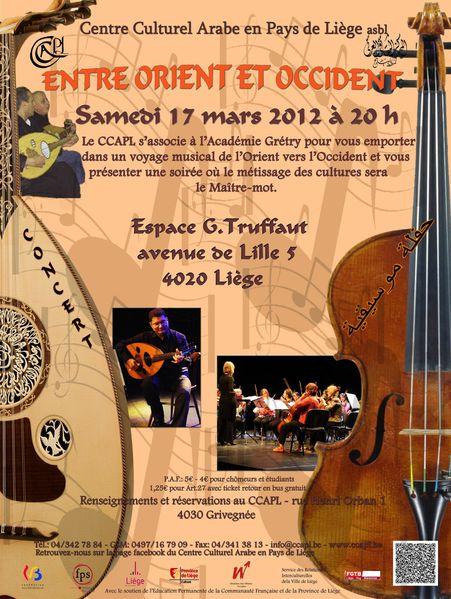 Concert « Entre Orient et Occident » Samedi 17 mars, à l'Espace G. Truffaut