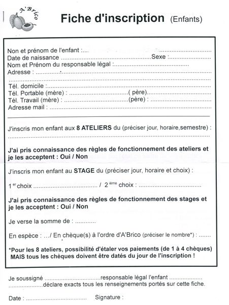 fiche d 39 inscription enfants le blog de l 39 atelier a 39 brico
