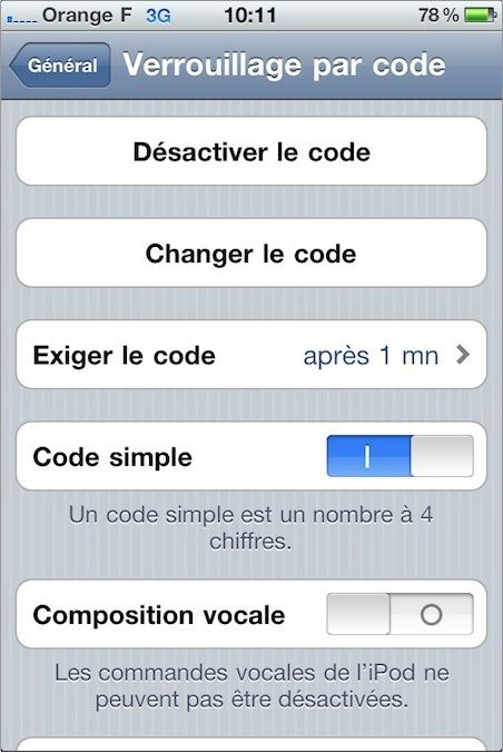 iphone controle vocal reglage