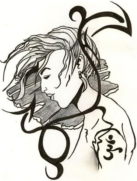 Dessins de femmes style tatoo - Peinture à l'huile et illustrations