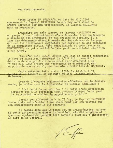 Lettre du Colonel ERNOULT photo