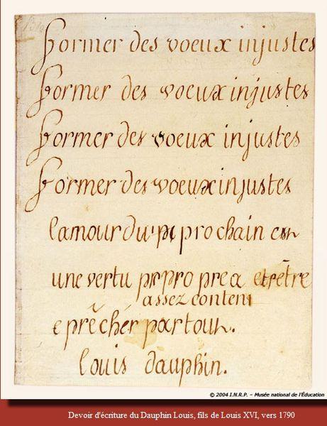 écriture du premier Dauphin, musée national de l'éducati