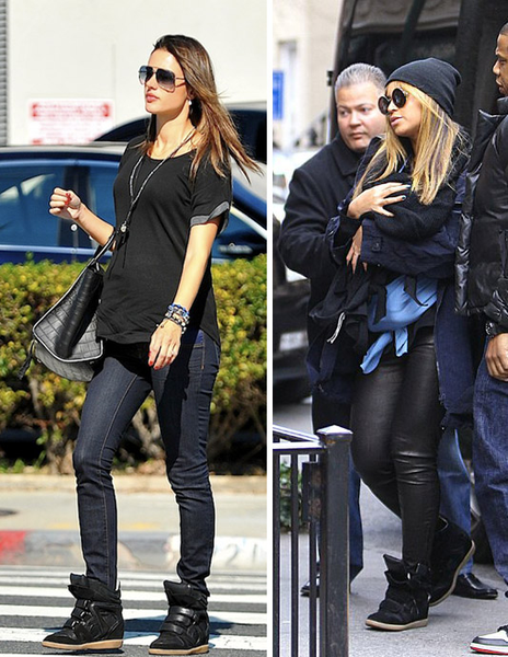 Beyonce-Alessandra Ambrosio-Isabel Marant wedge-sneakers