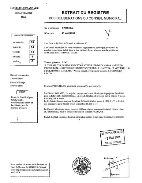 Extrait Franquet Roland 23-04-2008 sans appel d'offre