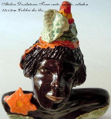 sculpture céramique.Colibri des îles