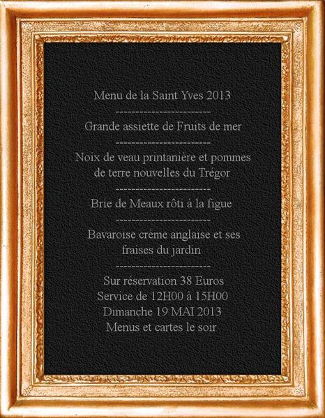 mon panneau menu saint yves Dimanche 19 Mai 2013