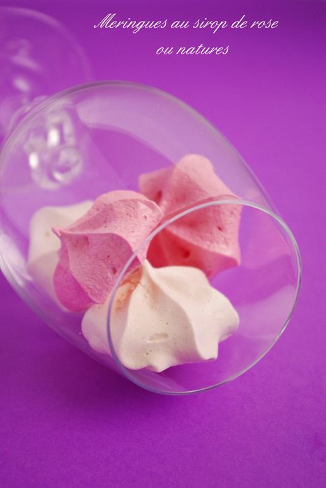 Meringues au sirop de rose ou nature Fb