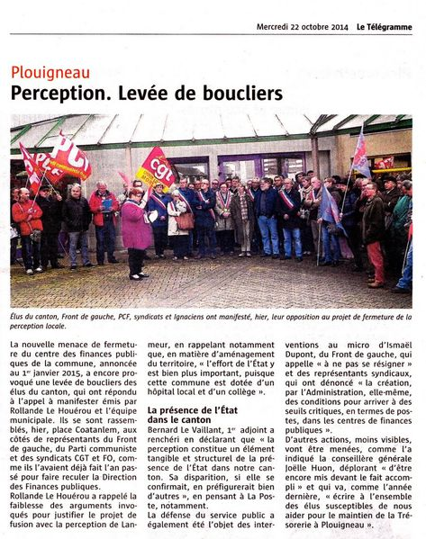 Le Telegramme 22.10.14 contre fermeture perception de Plou