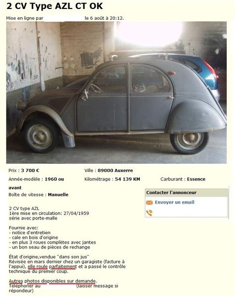 2 CV Type AZL ANNONCE anonyme