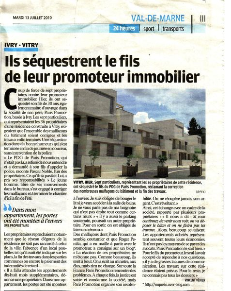 article séquestration du fils STOK