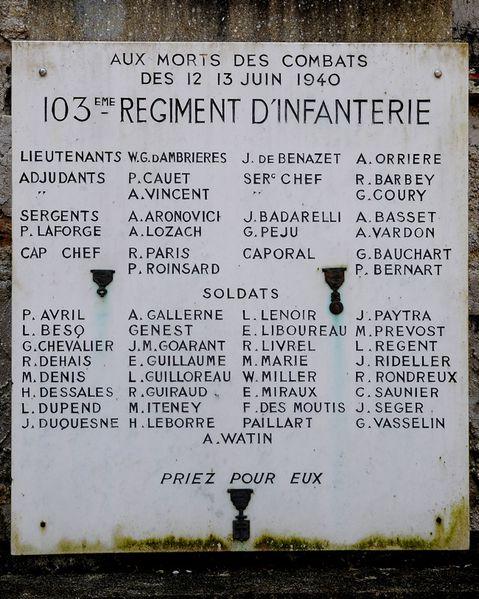 103 ème régiment d'infanterie. 12-13 juin 1940