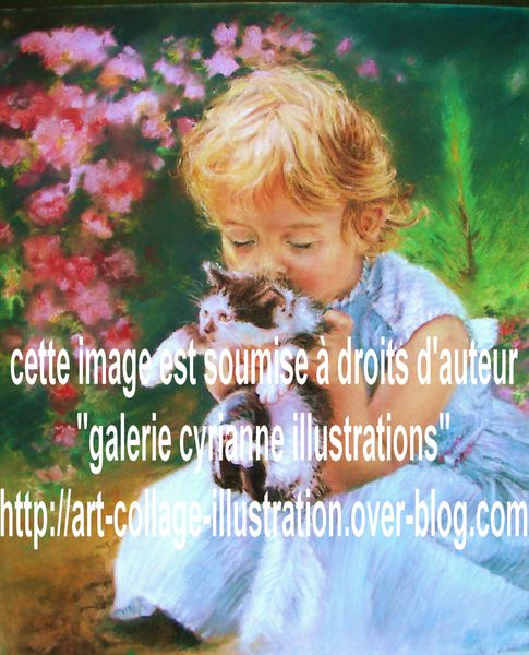 Illustration-pastel- fillette-chat-fleurs-roses-droits-aute