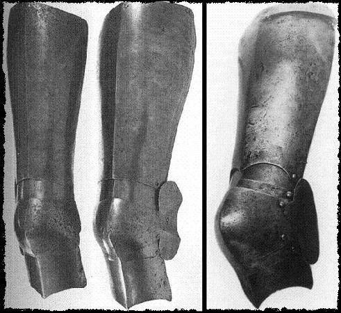 Sources jambes d'armure Legs_from_churburg_in_tower_1385