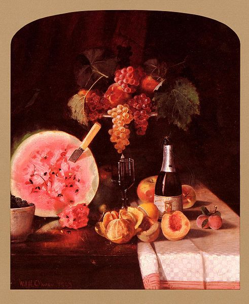 491px-Chase William Merritt Still Life With Watermelon 1869