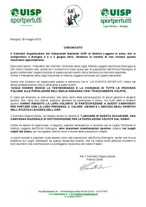 Il documento della UISP Bologna