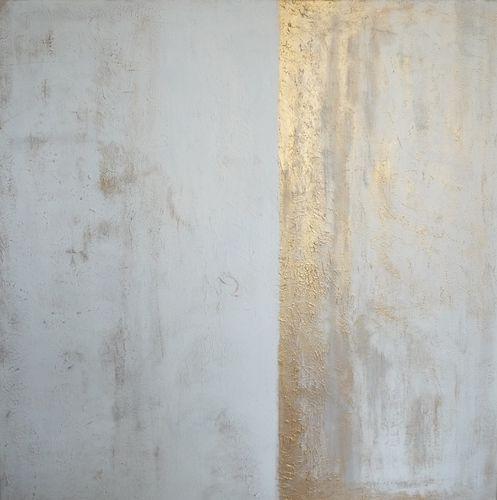 Blanc et or 100x100cm