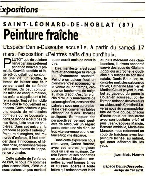 article -Echo du Centre- mars 2012