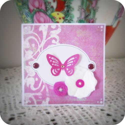 Scrap'Inès Carte papillon fleurs violette Purple butterfly