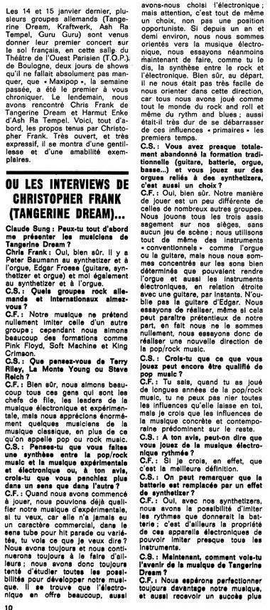 Interview -Tangerine Dream - 1973 -1