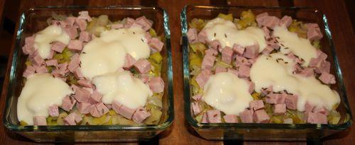 Tartiflette aux poireaux, jambon et cancoillotte 1