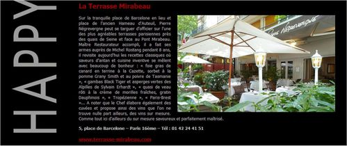 happy Few Restaurant La Terrasse Mirabeau Paris 16 Pierre N