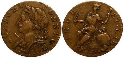 USA COLONIAL COINS 1787 Connecticut Copper Cent -Auctori C