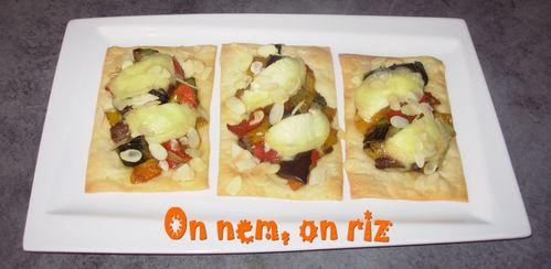 Tartelettes rectangulaires aux légumes confits au miel et