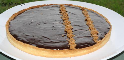 tarte chocolat sur croustillant pralin recettes a gogo. Black Bedroom Furniture Sets. Home Design Ideas