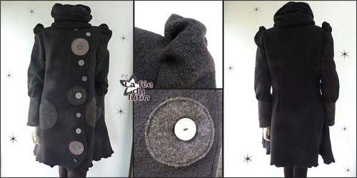 manteau noir laine bouillie femme les vestes la mode sont populaires partout dans le monde. Black Bedroom Furniture Sets. Home Design Ideas