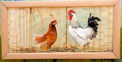D co cuisine theme poule for Decoration murale style campagne