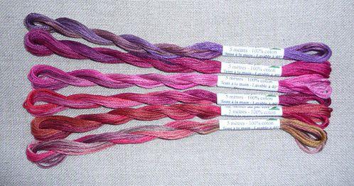 6 fils rose rouge
