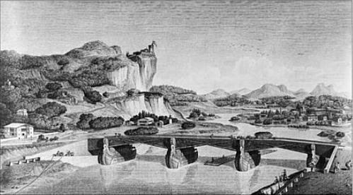 Pont sur la Loue Gravure