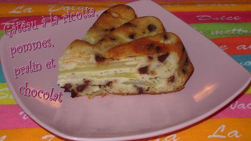 Gâteau ricotta, pommes, pralin, chocolat3